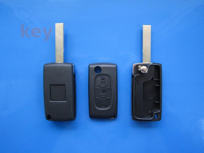 Carcasa cheie Peugeot 3but fara loc baterie HU83 lumini